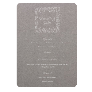 ForYourParty's chic Natural Slate Classic Menu with Matte White Foil has a Linear Floral Frame graphic and is good for use in Frames, Floral, Trendy themed parties and can be customized to complement every last detail of your party.