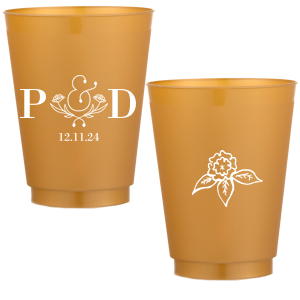 Our beautiful custom Blue 16 oz Frost Flex Color Cup with Matte White Ink Cup Ink Colors has a Accent Ampersand 2 graphic and a Marigold Accent graphic and is good for use in Couple, Floral, Wedding themed parties and will impress guests like no other. Make this party unforgettable.