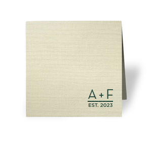 Our custom Linen Pearl Cream Regal Place Card with Matte Spruce Foil will add that special attention to detail that cannot be overlooked.