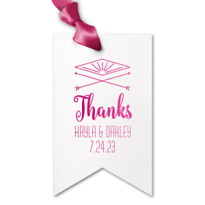 Our custom Stardream Crystal White Double Point Gift Tag with Shiny Fuchsia Foil Color has a Diamond Arrow graphic and is good for use in Wedding themed parties and can't be beat. Showcase your style in every detail of your party's theme!
