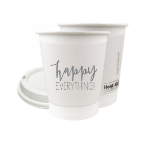 ForYourParty's personalized Matte Slate Gray Ink 12 oz Paper Coffee Cup with Lid has a Happy everything graphic and is good for use in Words, Holiday, Birthday themed parties and will look fabulous with your unique touch. Your guests will agree!