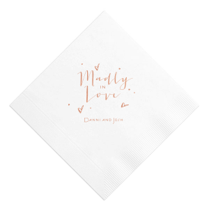 Our custom White Cocktail Napkin with Shiny Rose Gold Foil will make your guests swoon. Personalize your party's theme today.