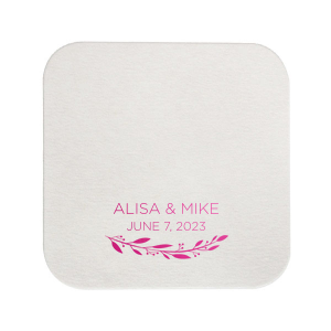The ever-popular White Round Coaster with Shiny Fuchsia Foil has a Branch 4 graphic and is good for use in Floral, Frames themed parties and can be personalized to match your party's exact theme and tempo.