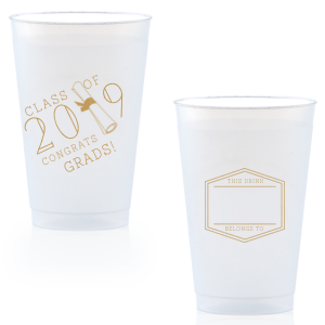 ForYourParty's personalized Gold Ink 10 oz Frost Flex Cup with Gold Ink Cup Ink Colors has a Graduation Scroll graphic and a Badge Frame 1 graphic and is good for use in Frames themed parties and can't be beat. Showcase your style in every detail of your party's theme!