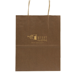Our personalized Metallic Copper Gift Bag with Satin 18 Kt. Gold Foil Color has a Angel 2 graphic and is good for use in Christian, Christmas themed parties and will add that special attention to detail that cannot be overlooked.