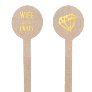 Our custom Shiny 18 Kt Gold Rectangle Stir Stick with Shiny 18 Kt Gold Foil Color has a Diamond graphic and is good for use in Wedding themed parties and will give your party the personalized touch every host desires.