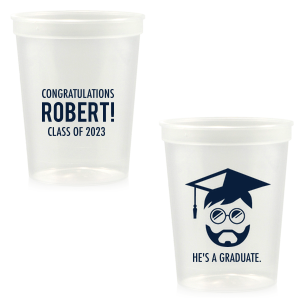 ForYourParty's elegant Ivory 16 oz Stadium Cup with Matte Navy Ink Cup Ink Colors has a Grad Boy graphic and is good for use in Graduation themed parties and will impress guests like no other. Make this party unforgettable.
