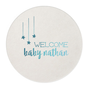 Personalize party accessories as sweet as the soon-to-be-arriving baby! The whimsical serif font, bold modern script and cute hanging stars on this coaster will make a darling addition your baby shower drinks and tables must have.