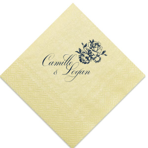 ForYourParty's personalized Super Gold Guest Towel with Matte Navy Foil has a Romantic Rose Bunch graphic and is good for use in Floral and Wedding themed parties and can be personalized to match your party's exact theme and tempo.