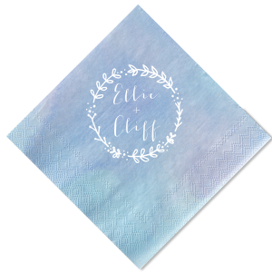 For Your Party's Chic Ocean Watercolor Cocktail Napkin with Matte White Imprint Foil Color has a Leaf Frame 1 graphic and is good for use in Frames, Bridal Shower, Wedding, Anniversary, Bachelorette themed parties and will add that special attention to detail that cannot be overlooked.