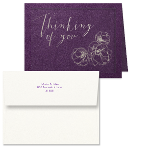 The ever-popular Poptone Violet Classic Note Card with Envelope with Shiny Sky Blue Foil and Matte Amethyst Foil has a Flower Trio graphic and is good for use in sending condolences or just a note to say hello, and can be personalized to the colors of your choice.