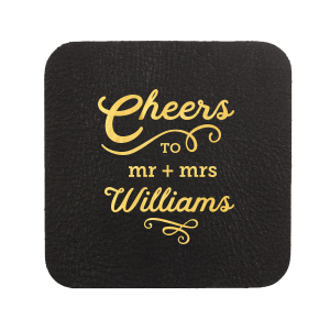 Personalized White Square Coaster with Shiny 18 Kt Gold Foil will make your guests swoon. Personalize your party's theme today.