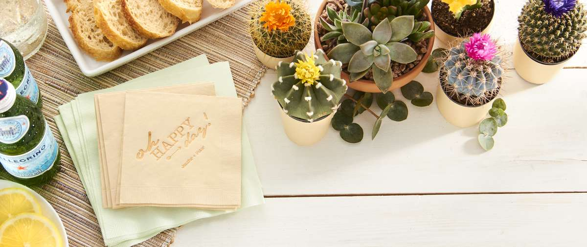 Desert Wedding Custom Cocktail Napkins