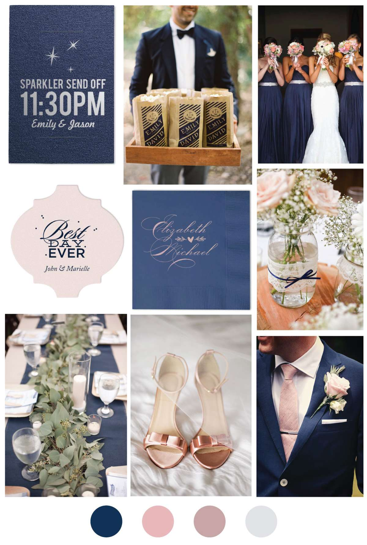 Blush and Blue Wedding Color Palette