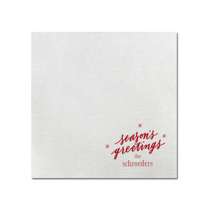 ForYourParty's elegant Fog Heather Dinner Napkin with Shiny Convertible Red Foil has a Season's Greetings graphic and is good for use in Words, Holiday, Christmas themed parties and are a must-have for your next event—whatever the celebration!
