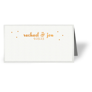 Complement your reception tablescape with themed place cards. Customize these Linen White cards with Copper foil and polka dots for a beautiful table addition. Add your names and wedding date for a personal touch.