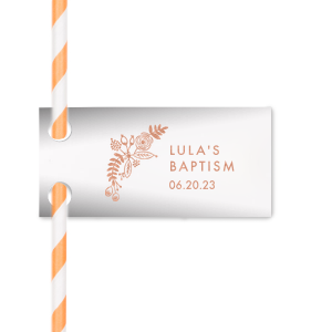 Our custom Natural Frost White Double Point Straw Tag with Shiny Rose Gold Foil has a Rustic Floral Accent 2 graphic and is good for use in Accents, Wedding, Anniversary themed parties and will make your guests swoon. Personalize your party's theme today.