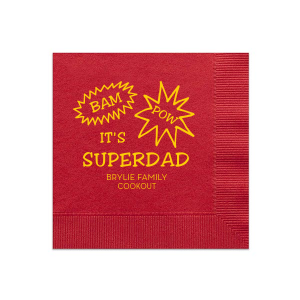 Our custom Convertible Red Cocktail Napkin with Matte Sunflower Foil will give your party the personalized touch every host desires.