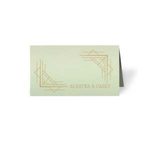 The ever-popular Poptone Mint Signature Place Card with Satin 18 Kt. Gold Foil has a Deco Frame 4 graphic and is good for use in Frames, Wedding, Geometric themed parties and can be personalized to match your party's exact theme and tempo.