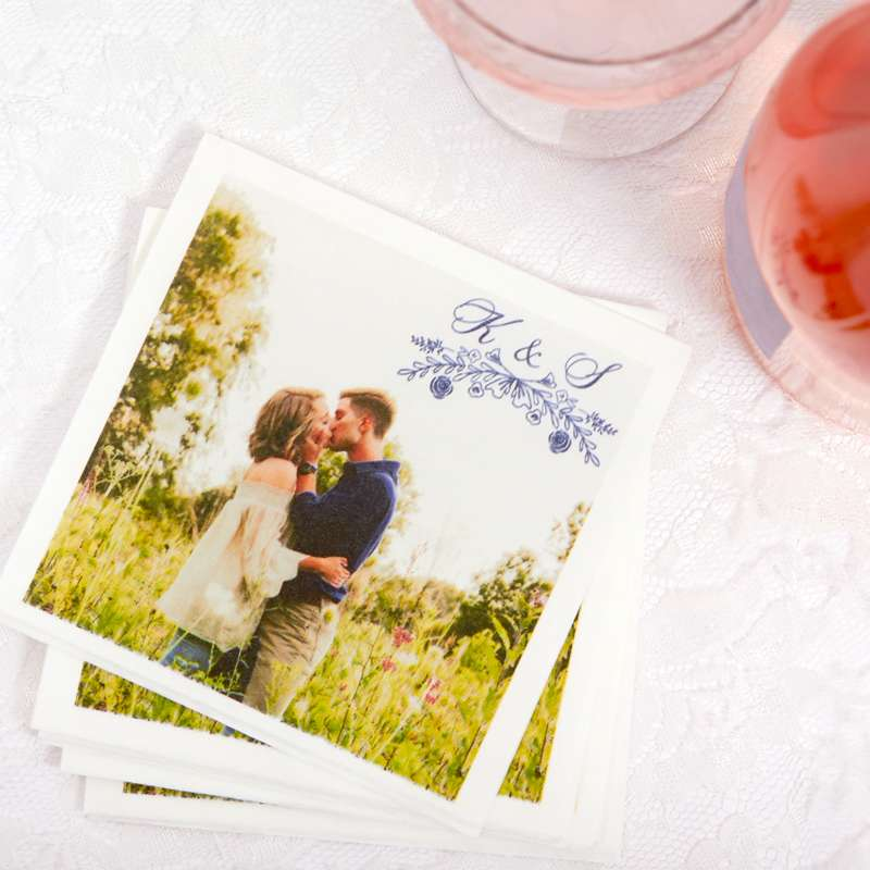wedding napkins with pictures