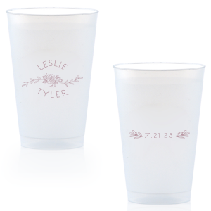 Our custom Matte Mauve Ink 9 oz Frost Flex Cup with Matte Mauve Ink Cup Ink Colors has a Peony Flourish 2 graphic and a HandWreathRSVP graphic and is good for use in Lovely Press themed parties and will add that special attention to detail that cannot be overlooked.
