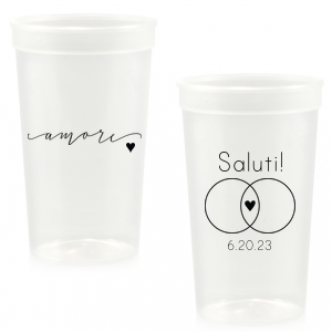 ForYourParty's elegant Gold 16 oz Stadium Cup with Matte Navy Ink Ink Color has a Amore graphic and a Venn Diagram Frame graphic and is good for use in Accents, Wedding, Hearts themed parties and couldn't be more perfect. It's time to show off your impeccable taste.