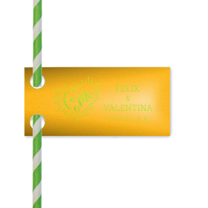 Our Custom Poptone Sunflower Double Point Straw Tag with Shiny Kiwi / Lime Foil has a Te Amo graphic and is good for use in Fun, Fiesta themed Weddings and parties and will make your guests swoon. Personalize your party's theme today.