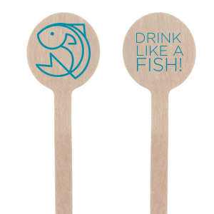Dress up wedding drinks with your beach theme! Featuring our Fish graphic and Teal foil, customize these stir sticks with a fun saying or your initials and date for a playful tropical bar accent.