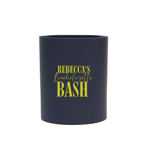 ForYourParty's elegant Navy Slim Can Cooler with Matte Chartreuse Ink Cup Ink Colors will make your guests swoon. Personalize your party's theme today.