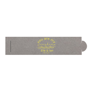 The ever-popular Natural Slate Small Sparkler Sleeve with Matte Mimosa Yellow Foil has a Wave Flourish 2 graphic and is good for use in Beach/Nautical, Accents themed parties and will add that special attention to detail that cannot be overlooked.