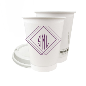Our custom 16 oz Paper Coffee Cup with Lid with Matte Eggplant Ink Color has a Diamond Frame graphic and a sharp monogram and is good for use in Home, Wedding and Anniversary themed parties and will impress guests like no other. Make this party unforgettable.