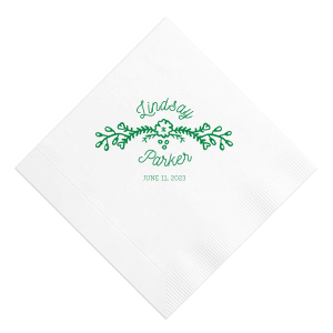 Our beautiful custom Moss Green Linen Like Cocktail Napkin with Matte Navy Foil Color has a Marigold Vine graphic and is good for use in Accents themed parties and couldn't be more perfect. It's time to show off your impeccable taste.