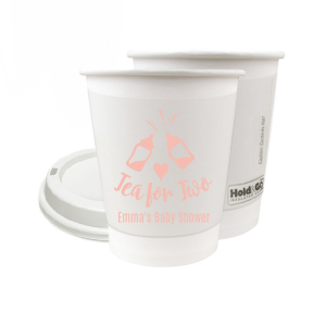 ForYourParty's chic Matte Pastel Pink Ink 12 oz Paper Coffee Cup with Matte Pastel Pink Ink Screen Print has a Baby Bottles graphic and a Oh baby graphic and is good for use for Baby Showers and are a must-have for your next event—whatever the celebration!