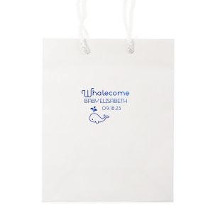 Personalized White Gift Bag with Shiny Turquoise Foil has a Whale graphic and is good for use in Animals, Birthday, Kid Birthday and Baby Shower themed parties and are a must-have for your next event—whatever the celebration!