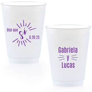 The ever-popular Matte Amethyst Ink 9 oz Frost Flex Cup with Matte Amethyst Ink Screen Print has a Si graphic and is good for use in Words themed parties and can't be beat. Showcase your style in every detail of your party's theme!