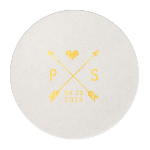 Custom Eggshell Round Coaster with Shiny 18 Kt Gold Foil has a Cross Arrows 1 graphic and is good for use in Accents, Frames themed parties and will give your party the personalized touch every host desires.