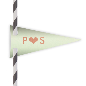 Personalized Poptone Mint Pennant Straw Tag with Shiny Rose Gold Foil will add that special attention to detail that cannot be overlooked.