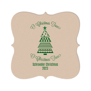 ForYourParty's chic Silver with Black back Ornament Coaster with Shiny Kiwi / Lime Foil Color has a Geo Christmas Tree 2 graphic and is good for use in Christmas themed parties and will impress guests like no other. Make this party unforgettable.