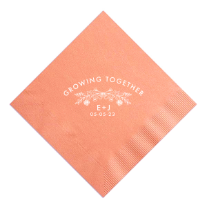 Our custom Pastel Yellow Cocktail Napkin with Matte White Foil has a Rose Laurel graphic and is good for use in Wedding, Floral themed parties and will give your party the personalized touch every host desires.