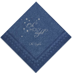 Our custom Navy Shimmer Cocktail Napkin with Satin Sterling Silver Imprint Foil Color has a Starry Night graphic and is good for use in Christmas themed parties and are a must-have for your next Holiday event!