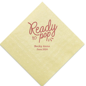 The ever-popular Pearl Gold Shimmer Cocktail Napkin with Shiny Rose Quartz Foil has a Ready to Pop graphic and is good for use in Words, Baby Shower themed parties and can't be beat. Showcase your style in every detail of your party's theme!