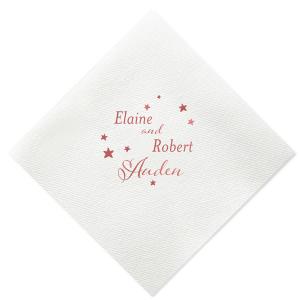 Our personalized White Luncheon Napkin with Shiny Rose Quartz Foil will look fabulous with your unique touch. Your guests will agree!