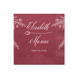 Our personalized Merlot Cocktail Napkins with Bleed with Matte White Foil has a Secret Garden floral graphic and is good for use in Floral and Wedding themed parties and will give your party the personalized touch every host desires.
