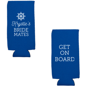Personalized Royal Blue Flat Can Cooler with Matte White Ink Screen Print has a Nautical graphic and is good for use in Beach/Nautical themed parties and are a must-have for your next event—whatever the celebration!