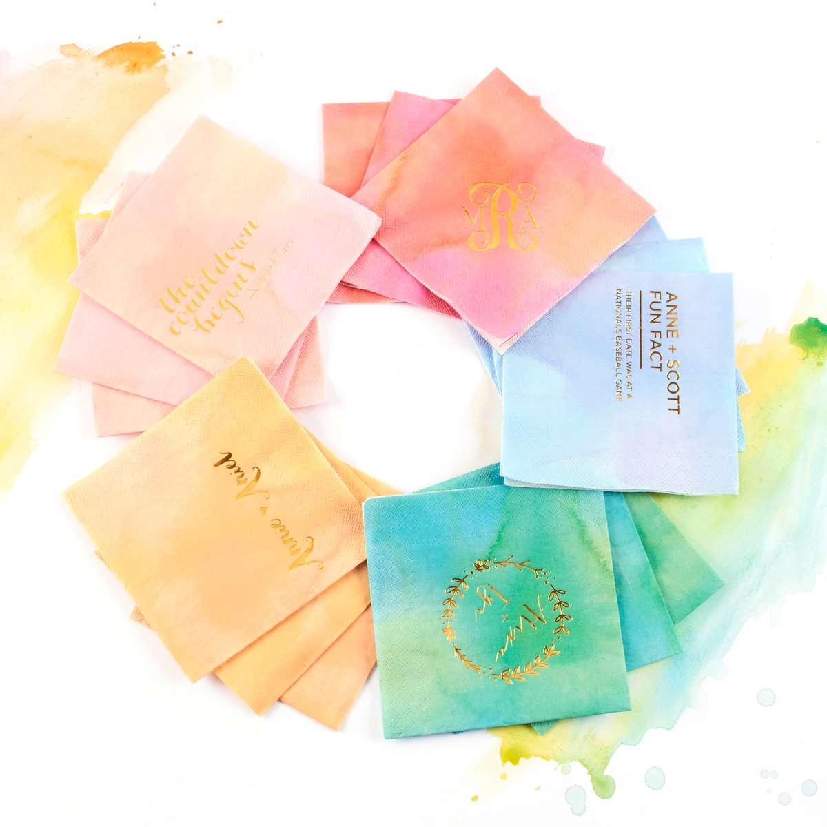 personalized watercolor cocktail napkins