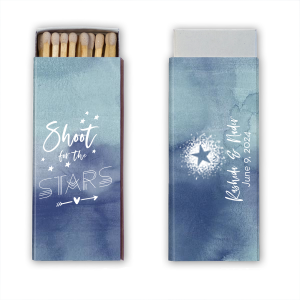 Our beautiful custom Watercolor Blue Sky Classic Matchbox with Matte White Foil has a Dotted Star graphic and is good for use in Stars, Graduation, Wedding, Birthday and other Milestone events and will impress guests like no other. Make this party unforgettable.