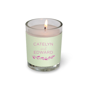 Our custom Poptone Mint Votive Candle with Satin Fuchsia Foil Color has a Branch 4 graphic and is good for use in Floral, Frames themed parties and can't be beat. Showcase your style in every detail of your party's theme!