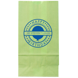 The ever-popular White Party Bag with Matte Royal Blue Foil Color has a Birthday Badge graphic and is good for use in Birthday themed parties for Kids and Adults and will look fabulous with your unique touch. Your guests will agree!