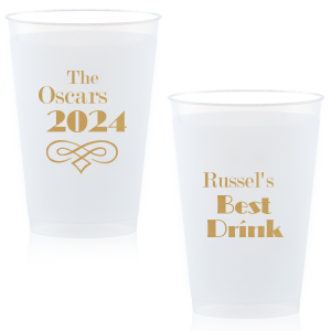 Personalized Gold Ink 12 oz Frosted Plastic Cup with Gold Ink Cup Ink Colors has a Accent 22 graphic and is good for use in Wedding themed parties and will make your guests swoon. Personalize your party's theme today.