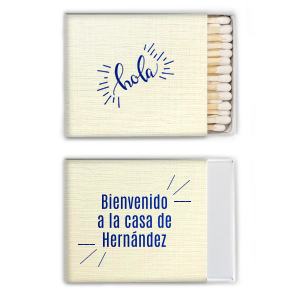 Our beautiful custom Linen Eggshell Candle Matchbox with Shiny Turquoise Foil Color has a Hola graphic and is good for use in Words themed parties and will impress guests like no other. Make this party unforgettable.